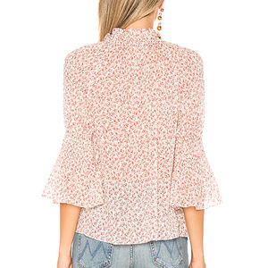 Rebecca Taylor Tops - Rebecca Taylor Floral Ruffle Detail Silk Blouse L
